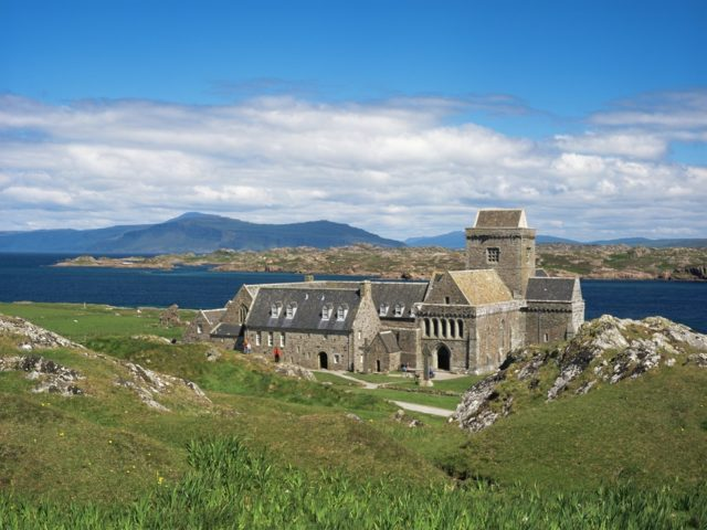Walk on the tranquil island of Iona with pristine white beaches and a beautiful historic Abbey image